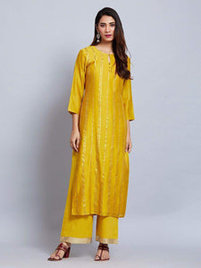 Fifth Avenue Women's TPS425 Blended Silk Lace Detail Kurti and Pants Set - Yellow