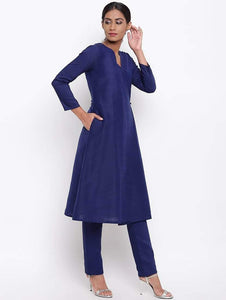 Fifth Avenue Women's TPS533 Blended Silk Kurti and Pants Set - Blue