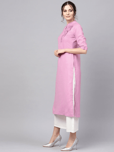 Lemon Tart Clothing LTK10 Pleat Detail Cotton Kurti - Pink
