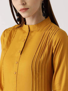 Lemon Tart Clothing LTK12 Pintuck Detail Linen Kurti - Yellow