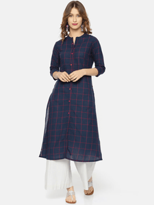 Lemon Tart Clothing LTK13 Grid Print Detail Cotton Kurti - Navy Blue