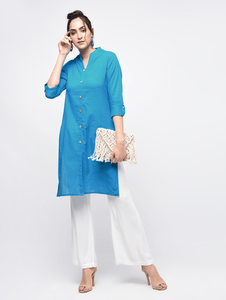 Lemon Tart Clothing LTK23 Button Neck Kurti - Light Blue