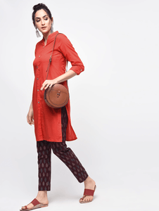 Lemon Tart Clothing LTK23 Button Neck Kurti - Red
