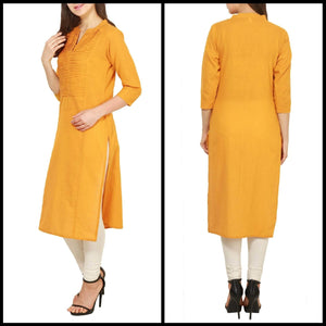 Lemon Tart Clothing LTK51 Pintuck Detail  Kurti - Yellow