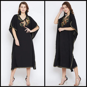 Lemon Tart Clothing LTK55 Embroidery Detail Kaftan Kurti - Black