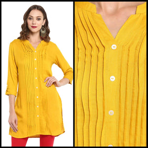 Lemon Tart Clothing LTK57 Pintuck Detail Kurti - Yellow