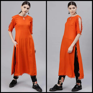 Lemon Tart Clothing LTK67 Pintuck Detail Kurti - Orange