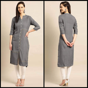 Lemon Tart Clothing LTK68 Stitch and Button Detail Kurti - Grey