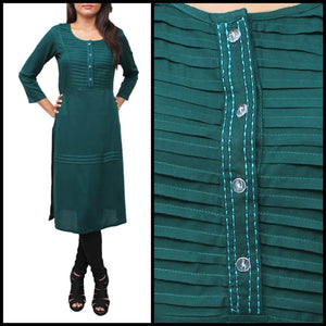 Lemon Tart Clothing LTK87 Pintuck Detail Stitched Kurti - Green