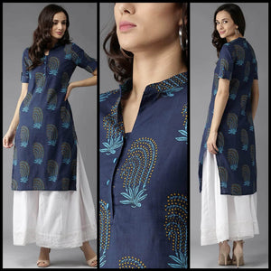 Lemon Tart CUTS314 Block Print Printed Unstitched Cambric Kurti