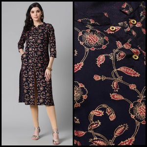 Lemon Tart CUTS373 Gold Foil Block Printed Unstitched Cambric Kurti