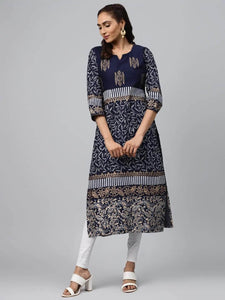 Lemon Tart CUTS375 Gold Foil Block Printed Unstitched Cambric Kurti