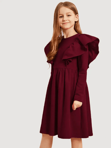 Lemon Tart Girls LTGD1 Linen Ruffle Trim Dress - Maroon