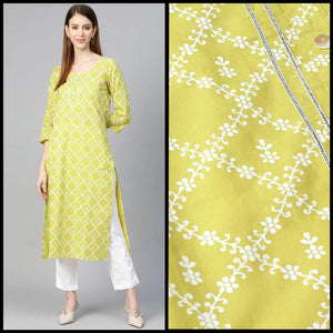 Lemon Tart KHLUS345 1 Piece Block Printed Unstitched Khaddar Kurti