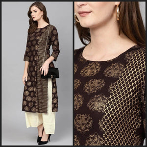 Lemon Tart KHLUS347 1 Piece Gold Foil Block Printed Unstitched Khaddar Kurti