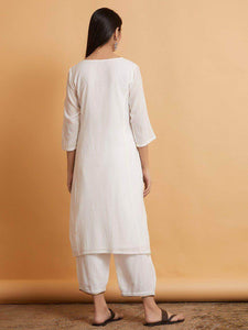 Lemon Tart LTSV1-White Staple Viscose Embroidered 2 Piece Suit