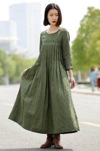 Lemon Tart Pleat Detail Long Dress LTAMD18
