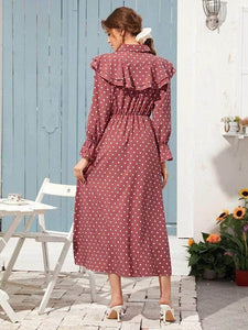 Lemon Tart Polka Dot Print Detail Long Dress LTAMD13