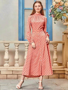 Lemon Tart Polka Dot Print Detail Long Dress LTAMD20