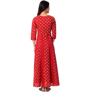 Lemon Tart Print Detail Long Dress LTAMD62 - Red