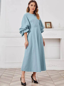 Lemon Tart Puffed Sleeve Long Maxi Dress LTAMD159 - Blue