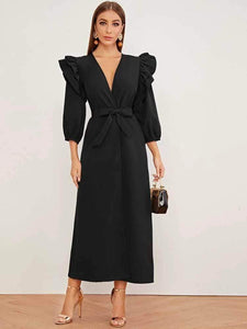 Lemon Tart Sleeve Ruffle Georgette Abaya Coat LTAB3 - Black