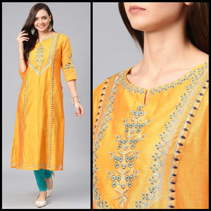 Lemon Tart Unstitched Blended Short Silk Embroidered Kurti WLUF164