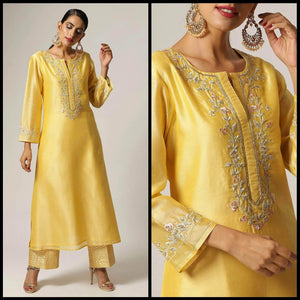 Lemon Tart Unstitched Blended Silk Embroidered Kurti WLUF5