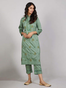 Lemon Tart Unstitched Cotton Chikinkari Embroidered 2 Piece Suit WLUF18