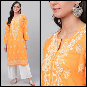 Lemon Tart Unstitched Cotton Chikinkari Embroidered LTCK50 Kurti