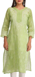 Lemon Tart Unstitched Cotton Chikinkari Embroidered WLUF109 Kurti