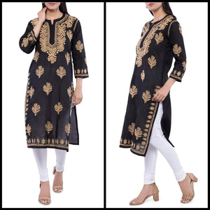 Lemon Tart Unstitched Cotton Chikinkari Embroidered WLUF133 Kurti
