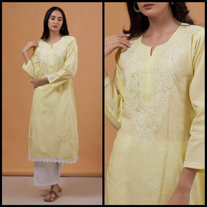 Lemon Tart Unstitched Cotton Chikinkari Embroidered WLUF31 Kurti
