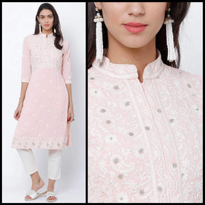 Lemon Tart Unstitched Cotton Chikinkari Embroidered WLUF60 Kurti