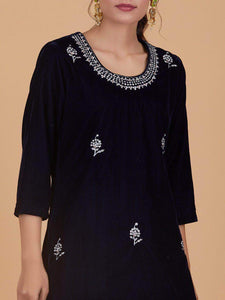 Lemon Tart Unstitched Velvet Embroidered Kurti WLUF83