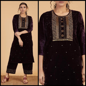 Lemon Tart Unstitched Velvet Embroidered Kurti WLUF87