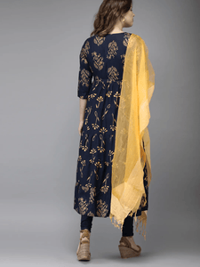 Lemon Tart WLUS80 2 Piece Gold Foil Printed Linen Unstitched Set