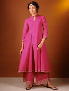 Lemon Tart Women's LTS102 Lace Detail Khaddar Kurta and Pants Set - Pink