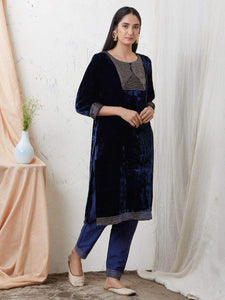 Lemon Tart Women's LTS107 Lace Detail Velvet Kurta and Khaddar Pants Set - Navy Blue