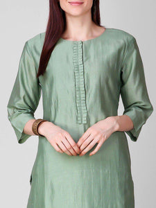 Lemon Tart Women's LTS108 Neck Stitch Detail Blended Silk Kurta and Pants Set - Green