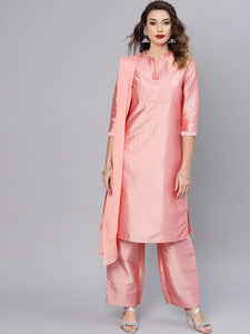 Lemon Tart Women's LTS109 Neck Stitch Detail Satin Kurta and Pants Set - Pink