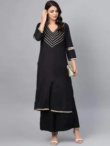 Lemon Tart Women's LTS111 Lace Detail Marina Wool Kurta and Pants Set - Black