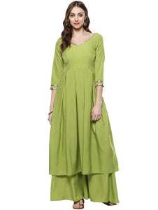 Lemon Tart Women's LTS12 Lace Detail Long Peplum Kurti and Pants Set - Green