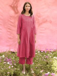 Lemon Tart Women's LTS120 Pleat Detail Cotton Kurta and Pants Set - Pink