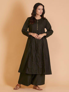 Lemon Tart Women's LTS121 Stitch Detail Cotton Kurta and Pants Set - Black