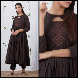 Lemon Tart Women's LTS123 Neck Stitch Detail Cotton Kurta and Pants Set - Brown