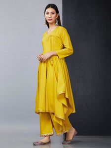 Lemon Tart Women's LTS135 Angrakha Style Cotton Kurta and Pants Set - Yellow