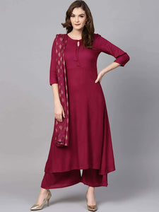 Lemon Tart Women's LTS16 Neck Tassel Detail Kurti and Pants Set - Maroon