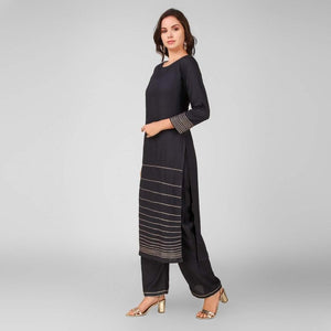 Lemon Tart Women's LTS162 Lace Detail Kurta and Pants Set - Black
