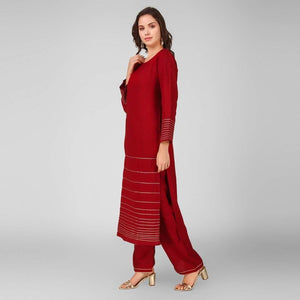 Lemon Tart Women's LTS162 Lace Detail Kurta and Pants Set - Maroon